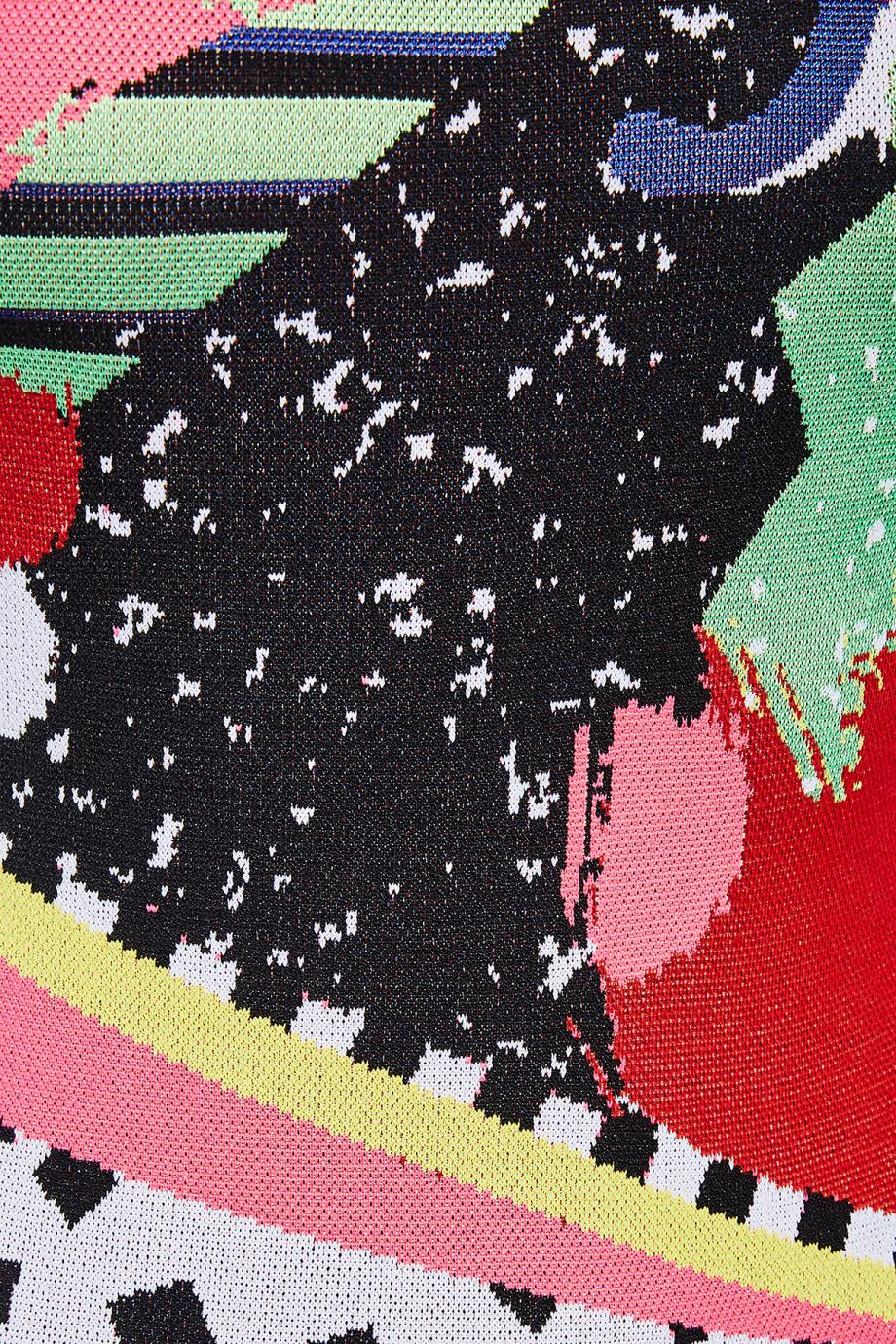 Jacquard-knit intarsia mini dress