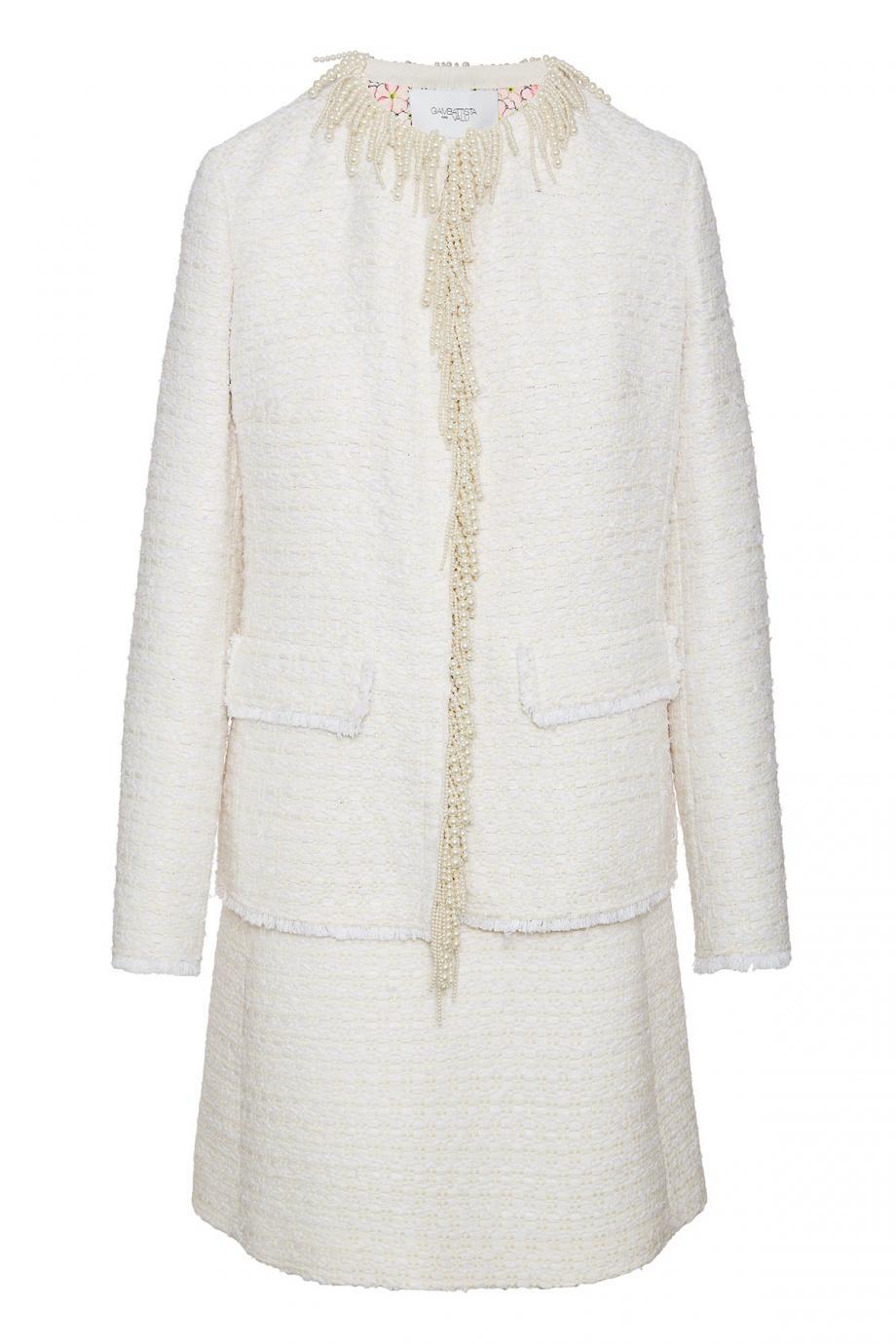 Pearl-embellished tweed jacket