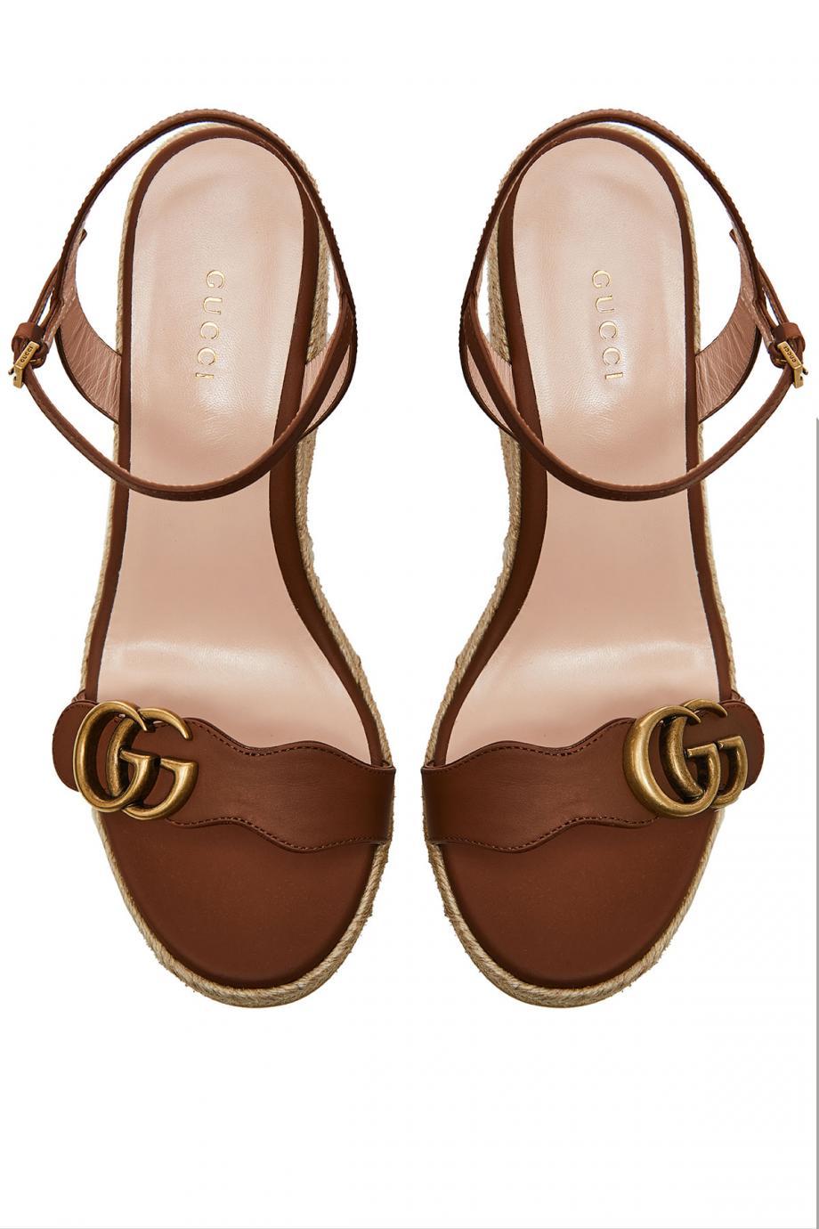 Aitana embellished leather espadrille wedge sandals