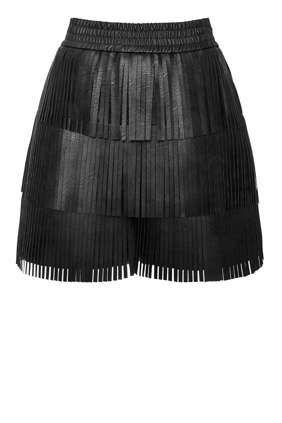 Fringed faux-leather shorts