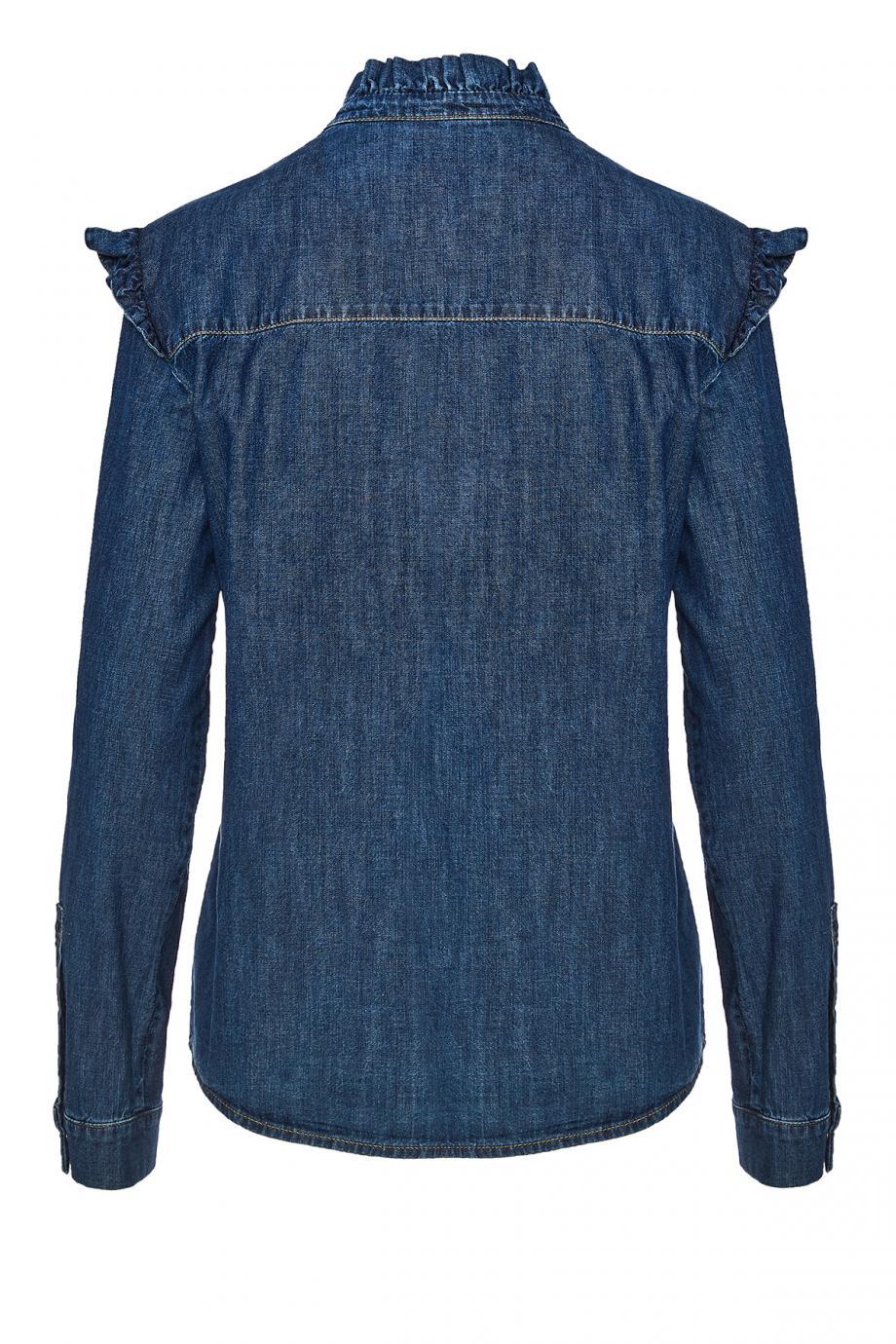 Ruffled cotton denim shirt