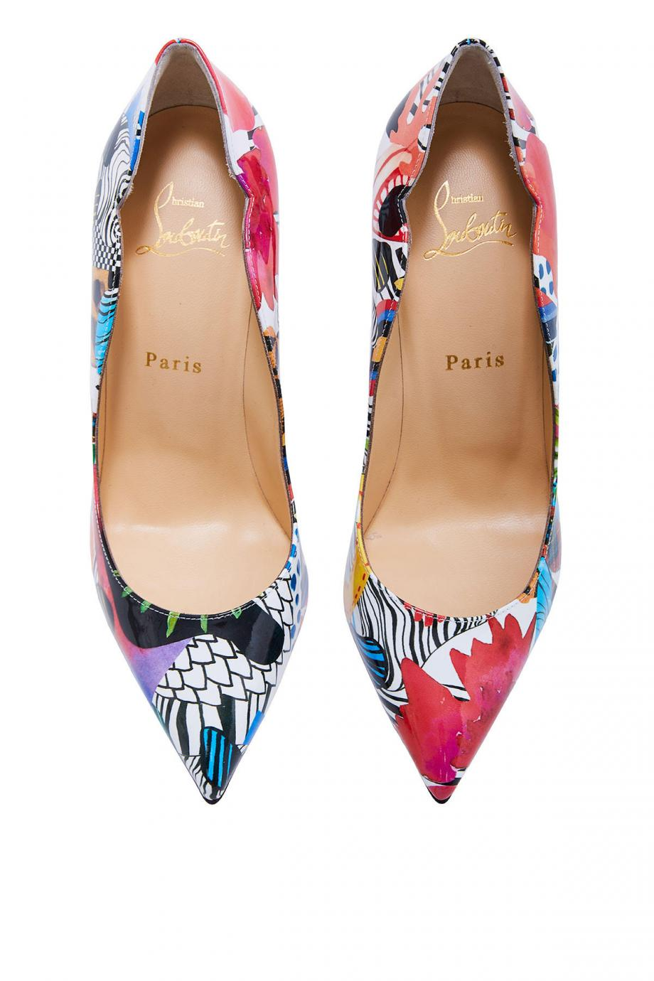 Hot Chick printed patent-leather pumps