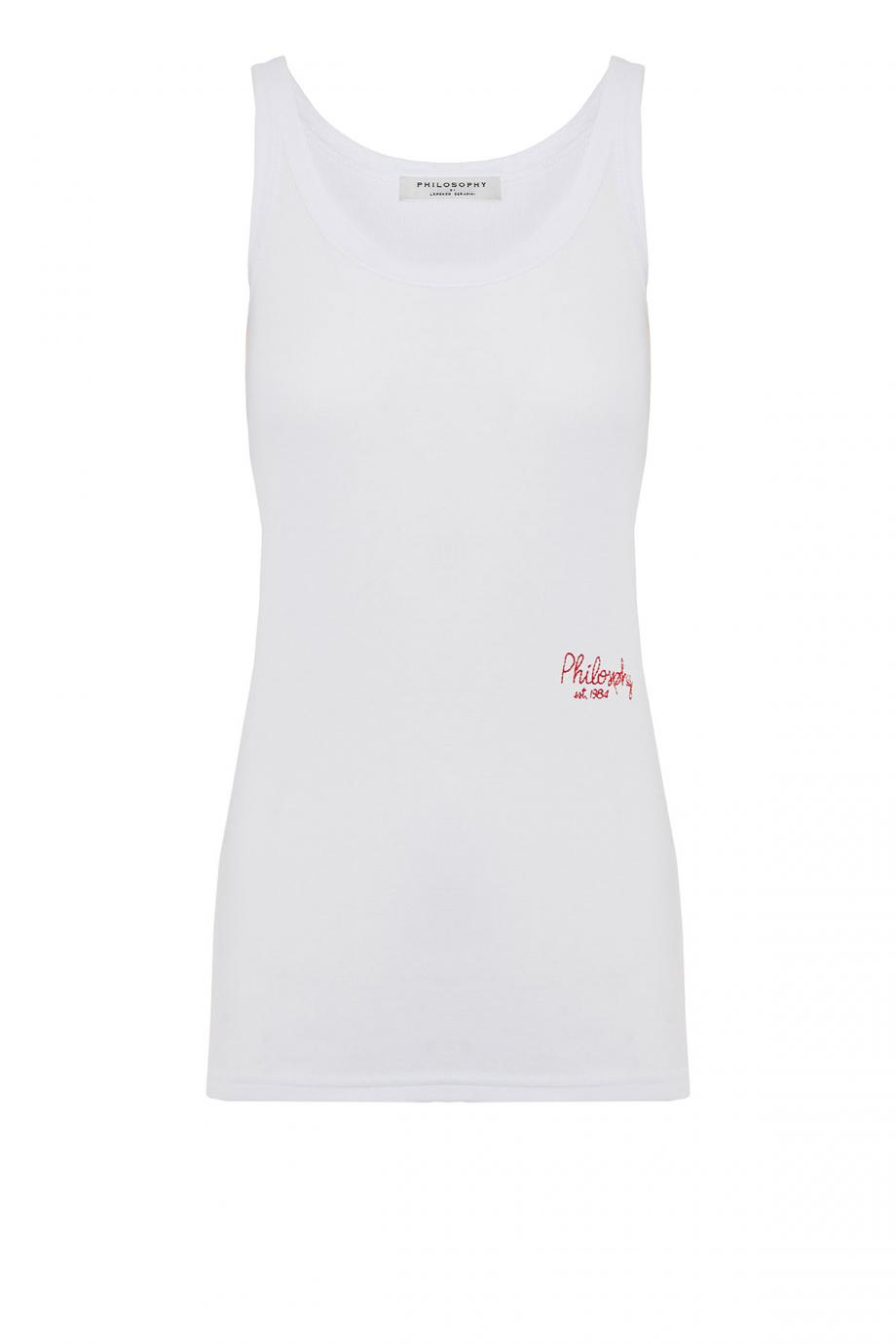 Embroidered ribbed cotton tank