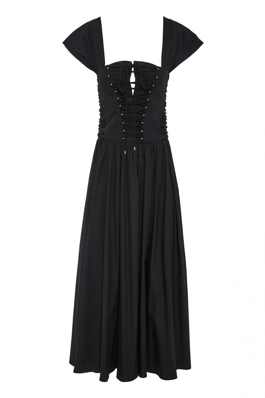 Lace-up cotton-poplin midi dress