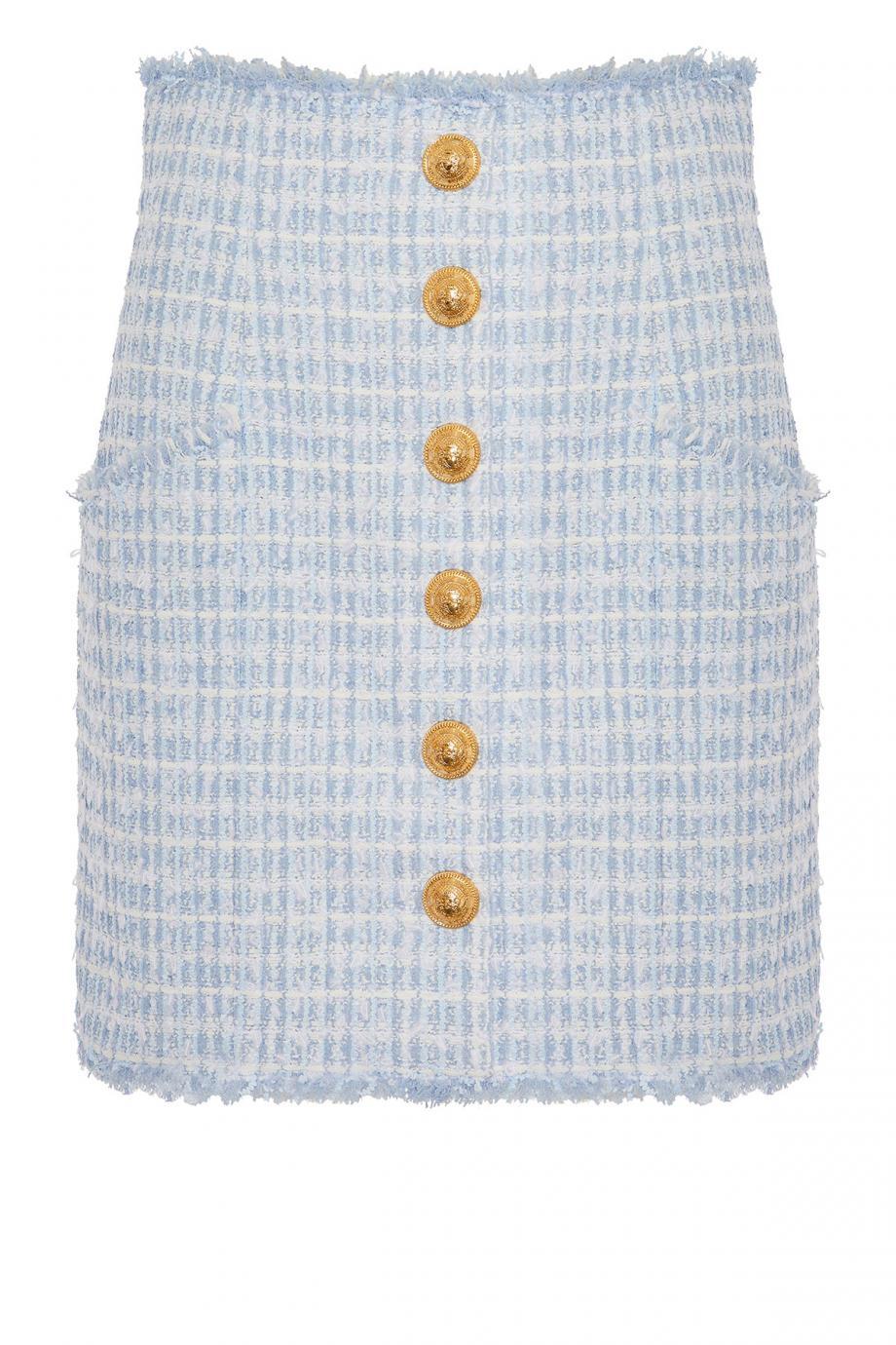 Embellished frayed tweed mini skirt