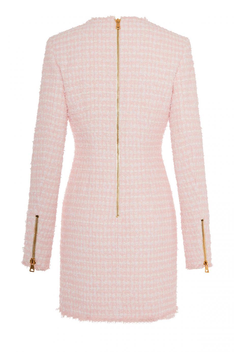 Embellished frayed tweed mini dress