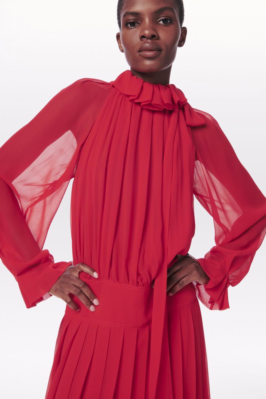 Pleated draped silk-georgette midi dress