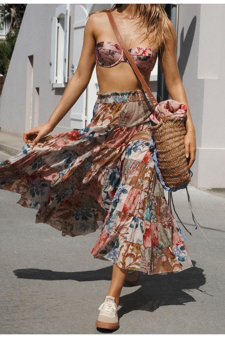 Cassia printed bandeau bikini top