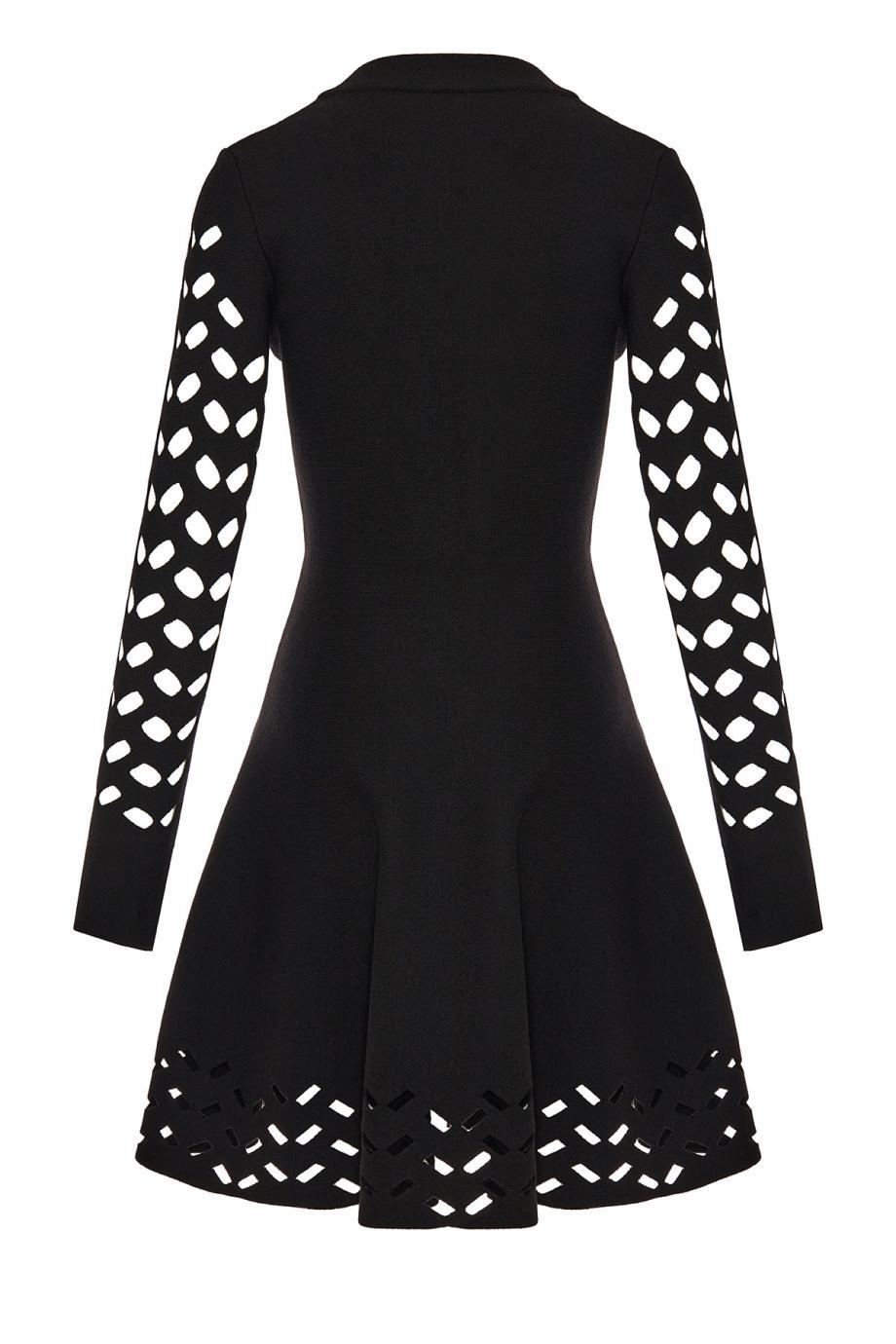 Ajouree laser-cut wool-blend mini dress