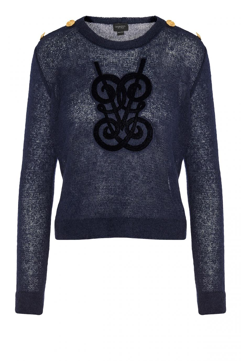 Embroidered mohair-blend sweater