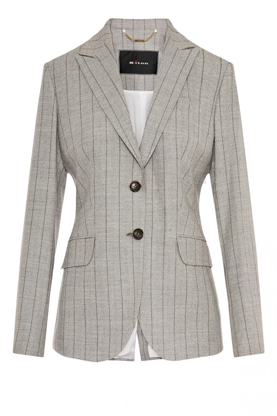 Striped wool-gabardine blazer