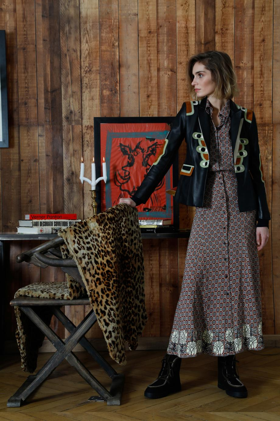 Santa Fe printed crepe midi dress