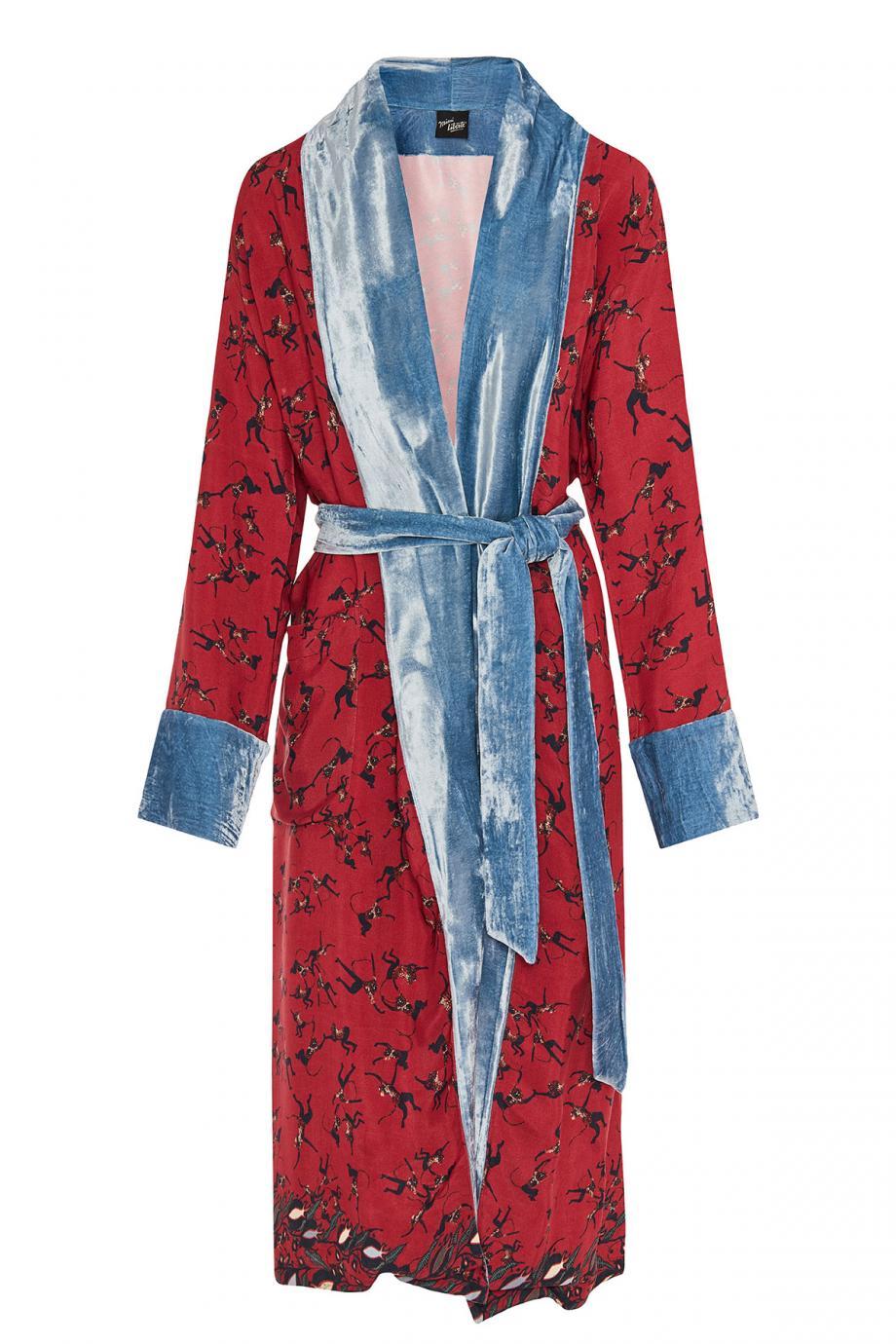 Velvet-trimmed printed crepe robe