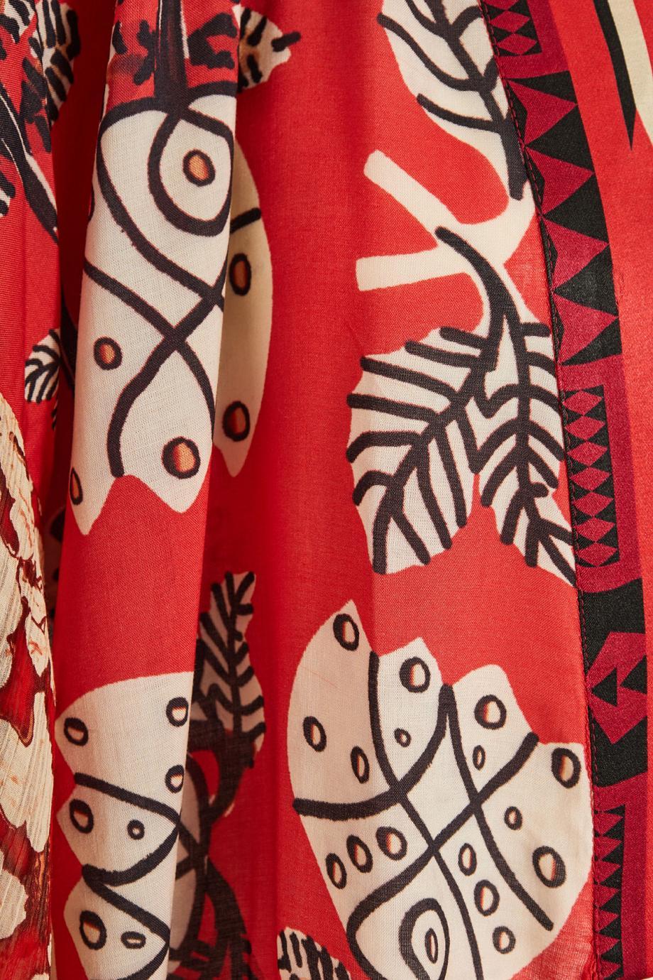 Printed satin kimono
