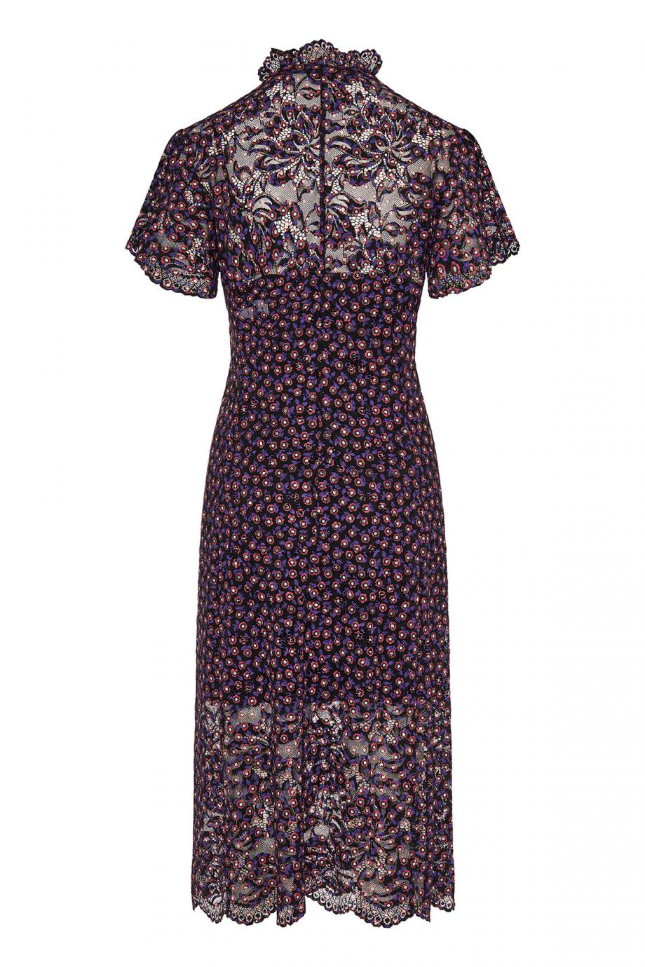 Printed lace midi dress