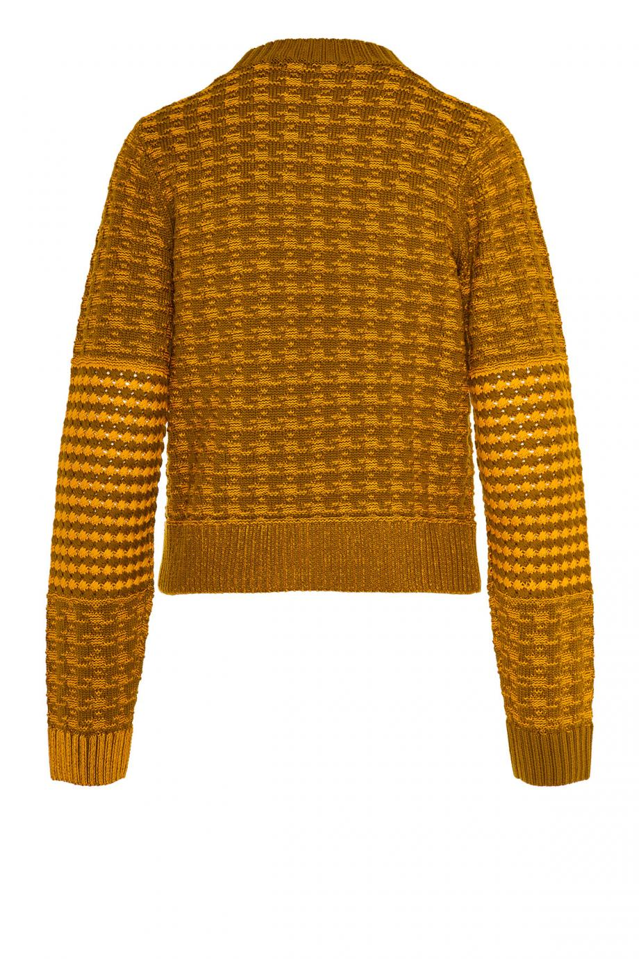 Houndstooth knitted wool-blend sweater
