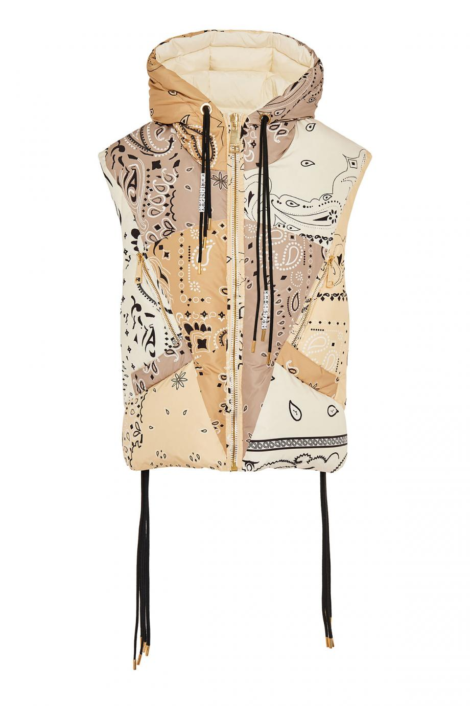 Oversized printed puffer gilet