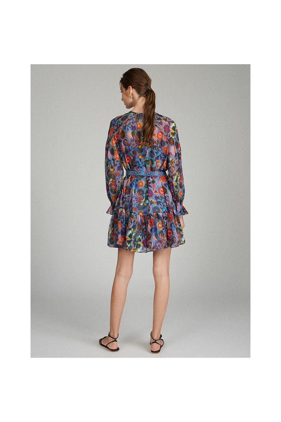 Pixie printed silk crepe de chine mini dress