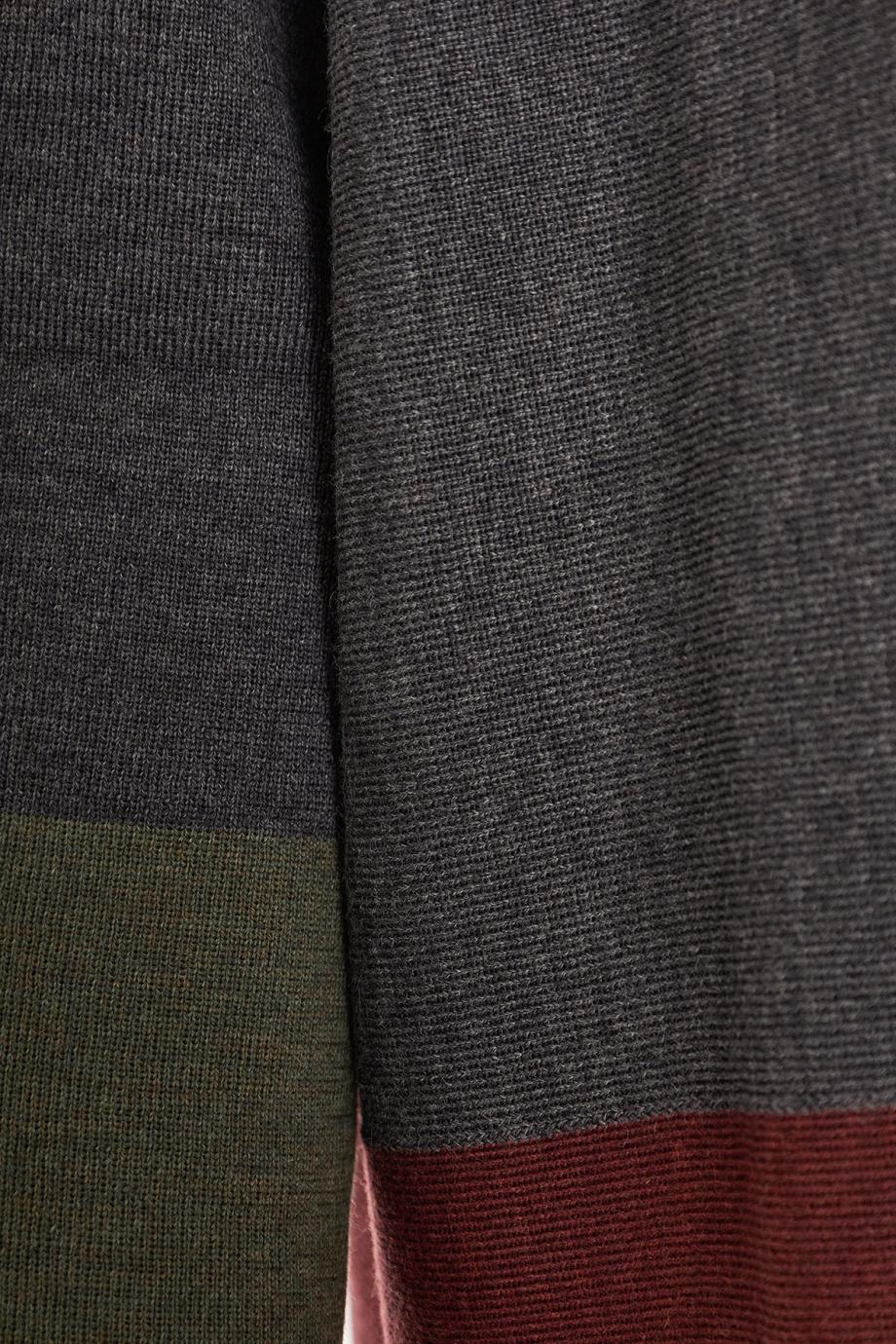 Color-block wool sweater
