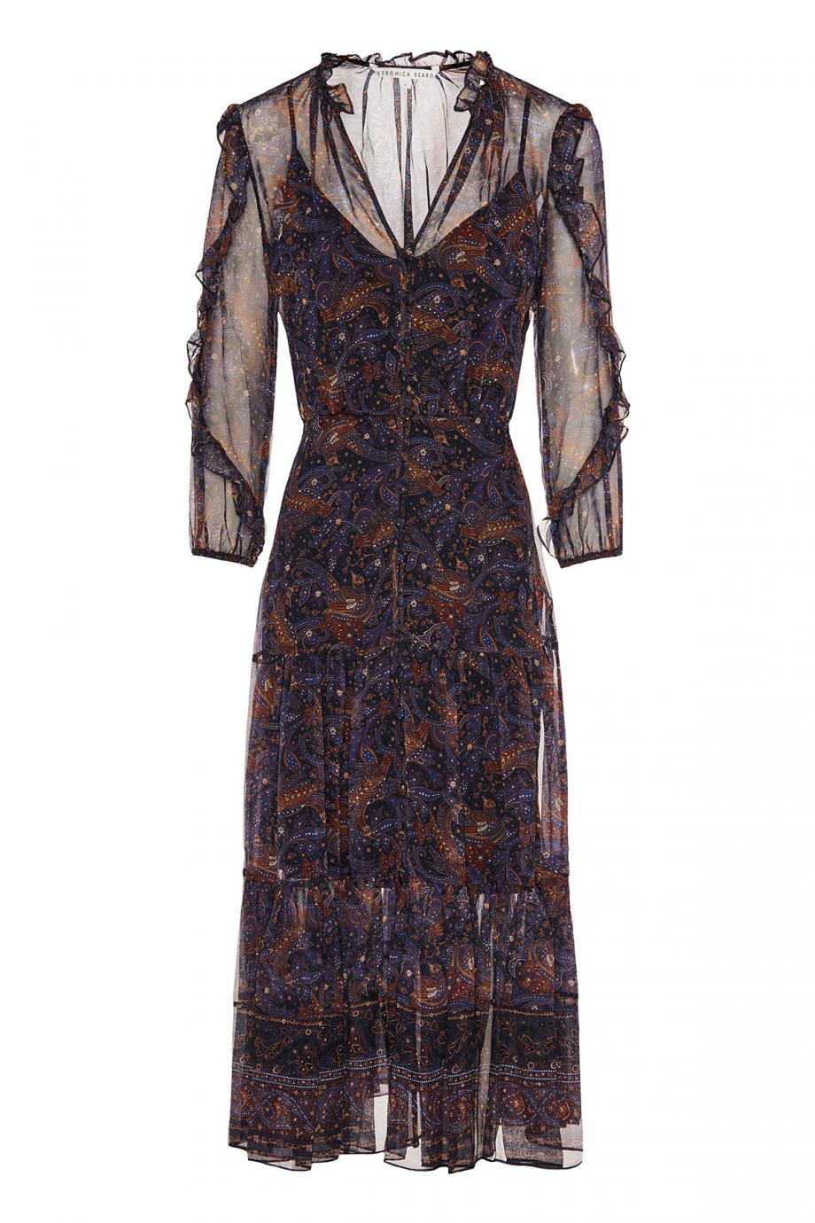 Ruffled printed silk-chiffon midi dress