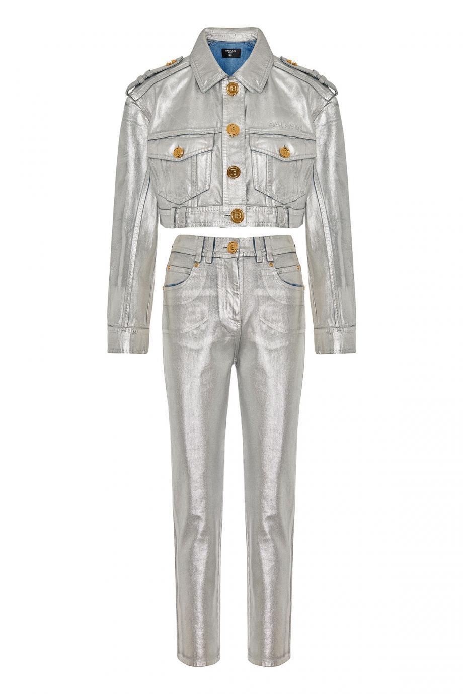 Metallic cotton denim jacket