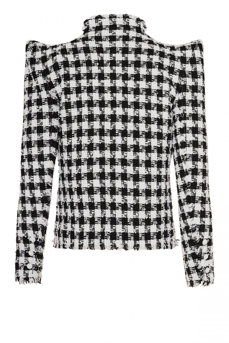 Gingham tweed blazer
