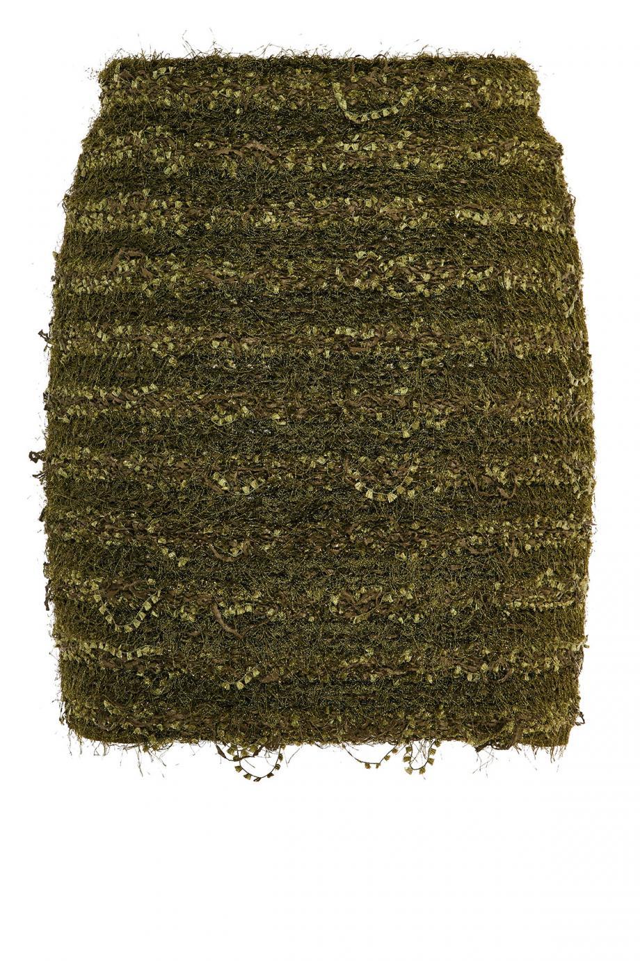 Embellished tweed midi skirt