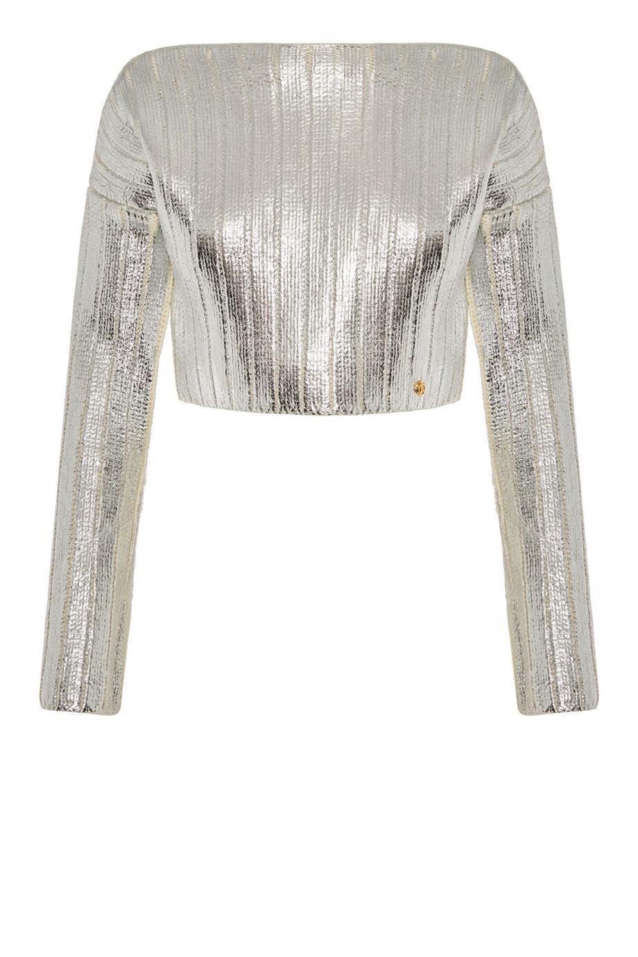 Cropped metallic sweater