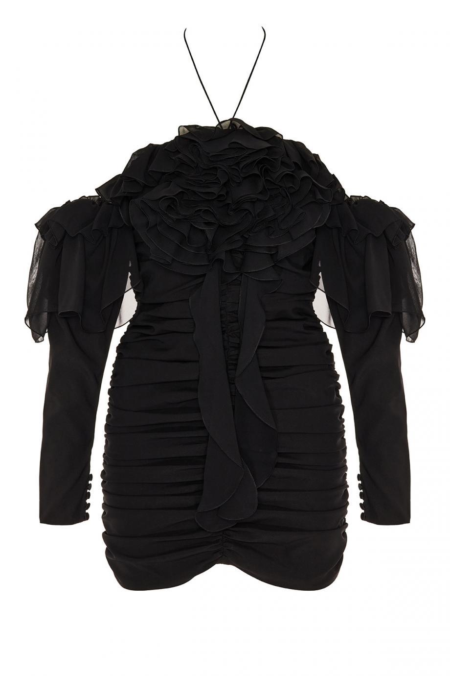 Ruffled silk mini dress