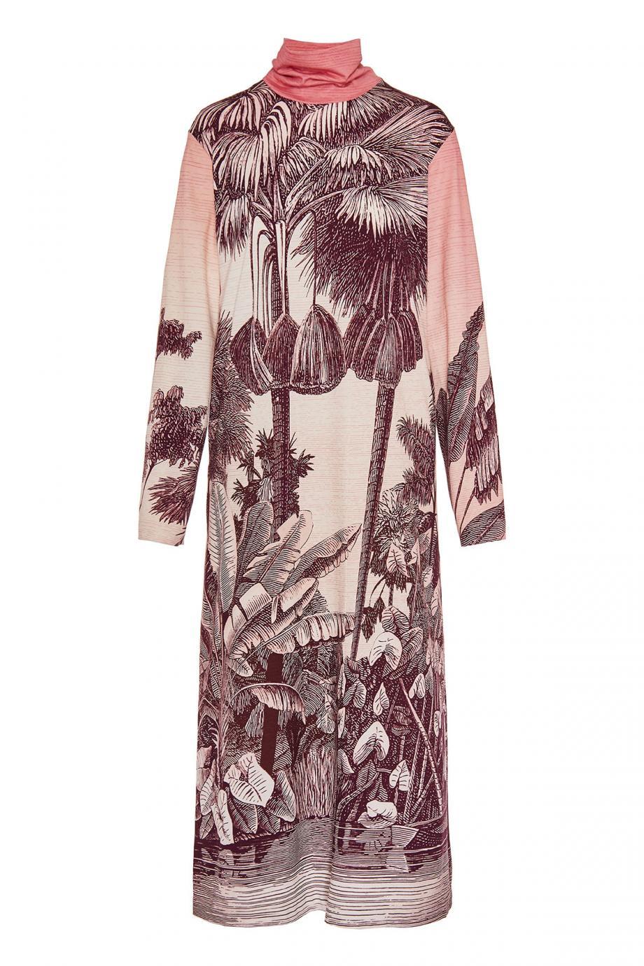 Printed cotton turtleneck midi dress