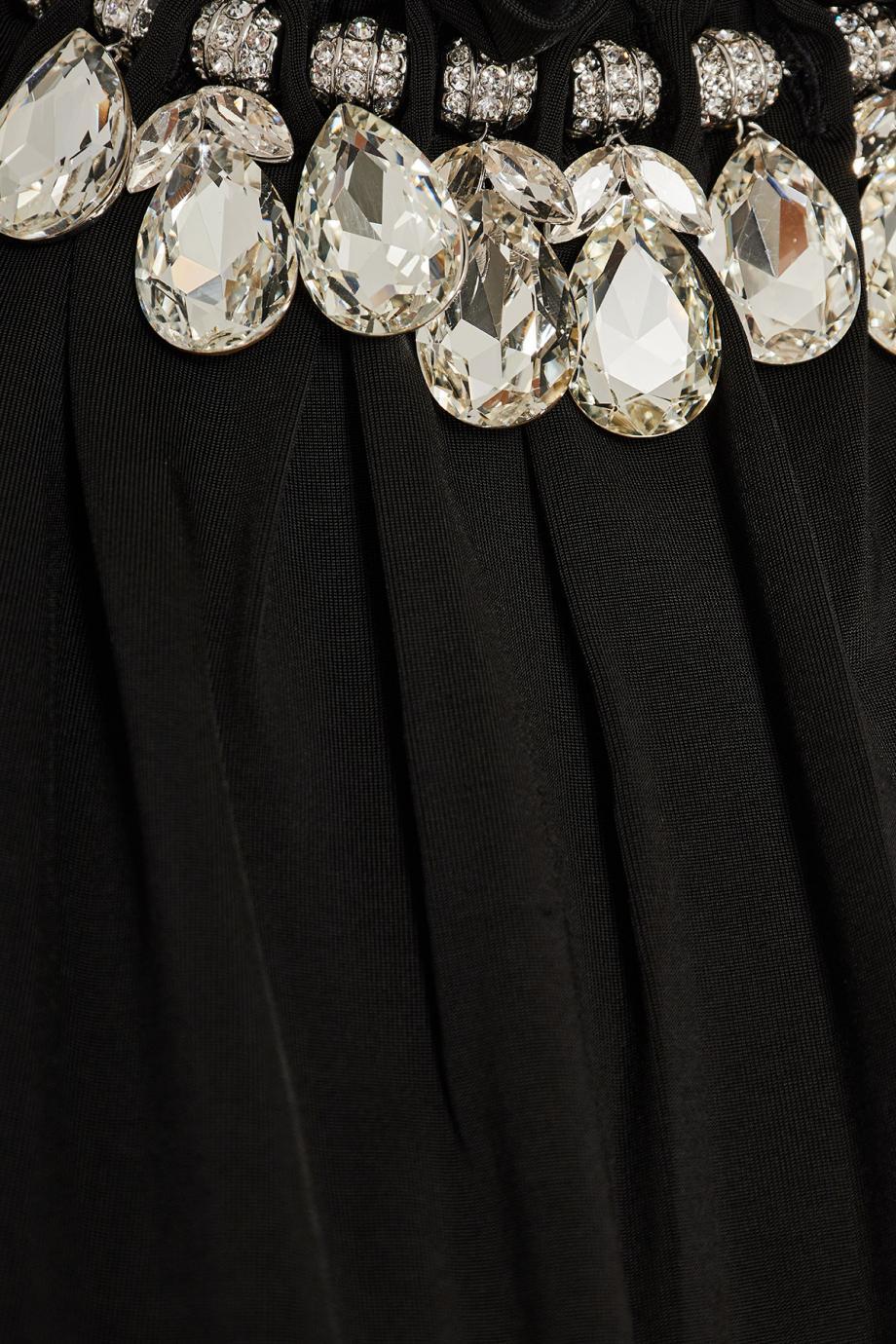 Embellished ruffled crepe midi dress