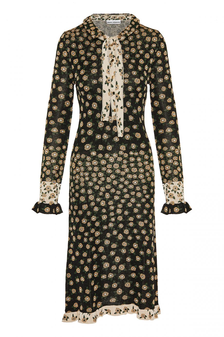 Metallic knitted midi dress