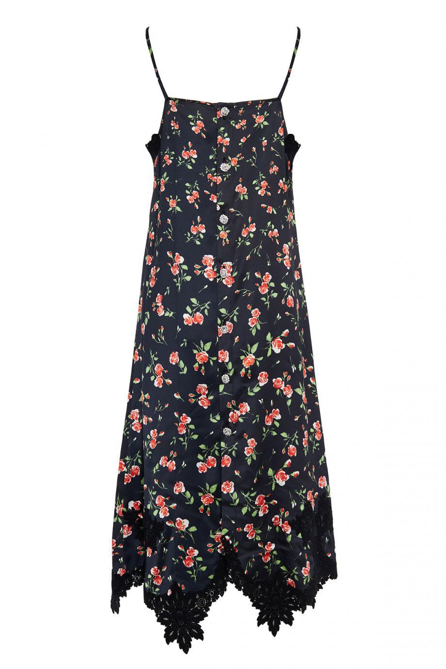 Lace-trimmed satin mini dress