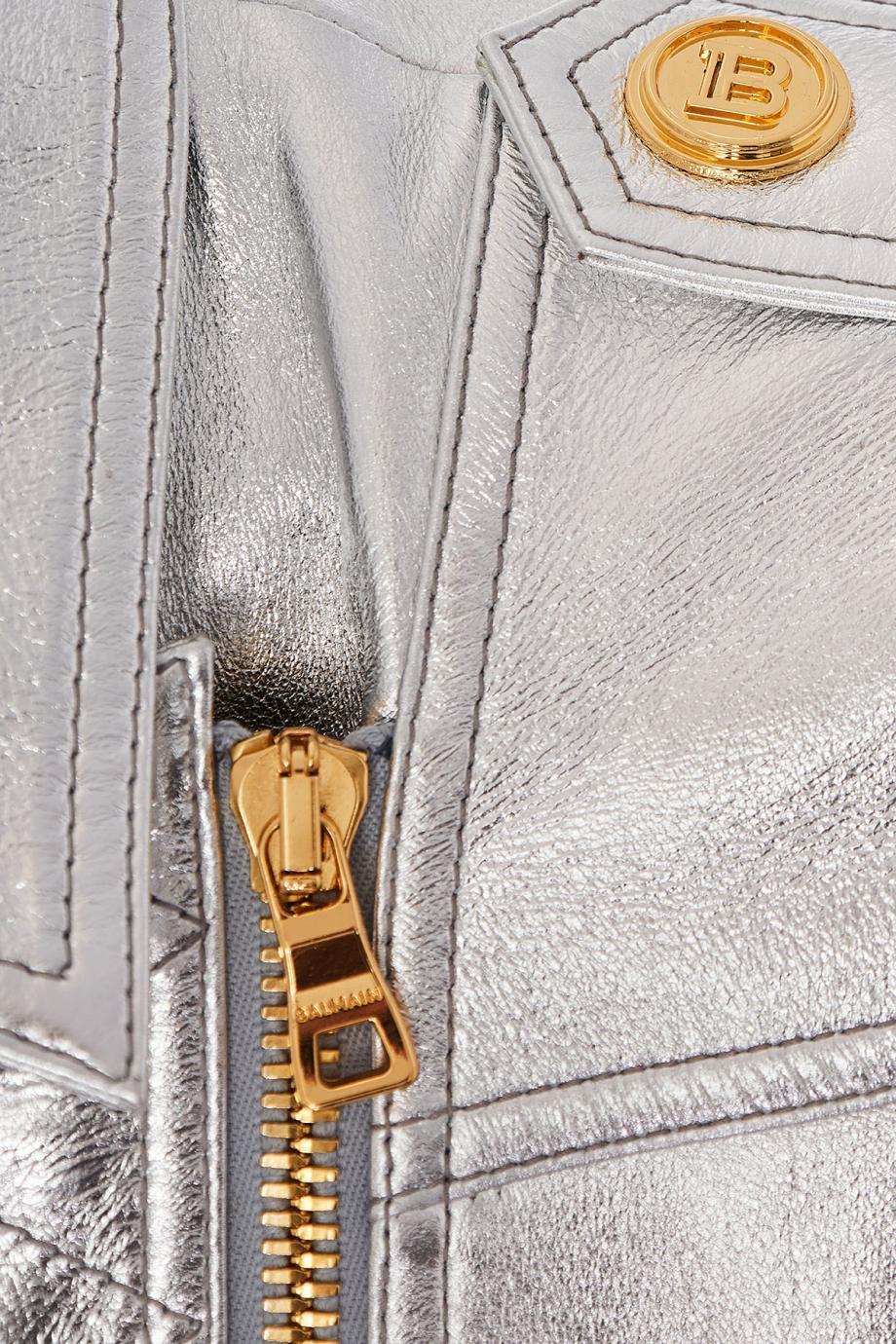 Metallic leather jacket