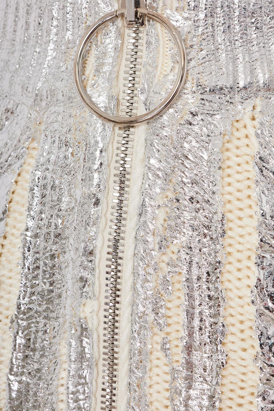 Metallic cable-knit midi skirt