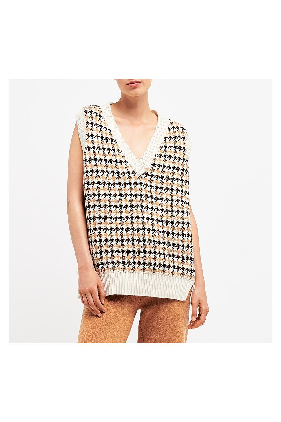 Houndstooth cashmere and wool sweater