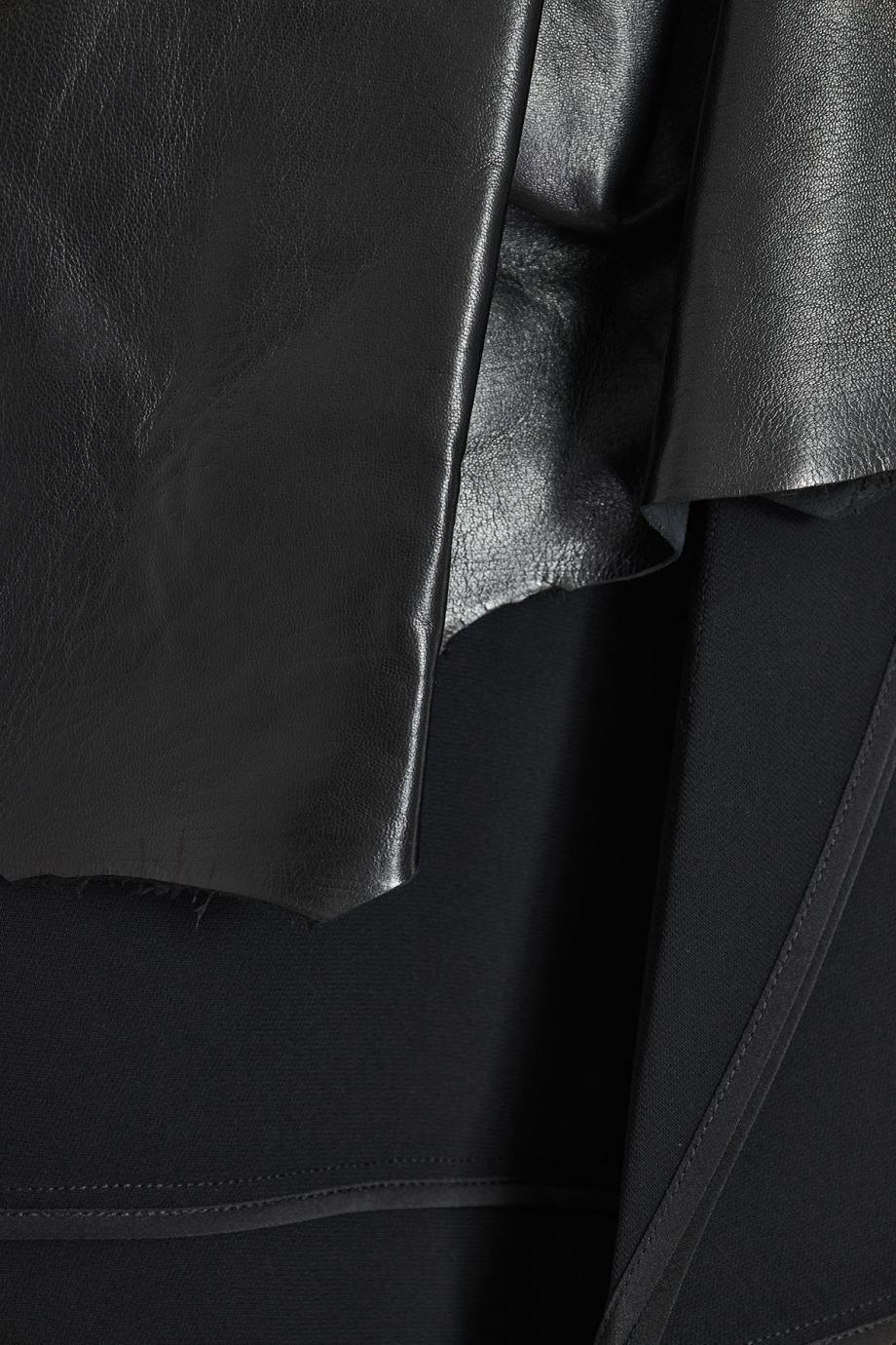 Leather-trimmed crepe midi dress